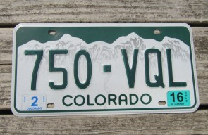 Colorado Mountain Scene License Plate 2015