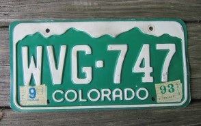 Colorado Mountain Scene License Plate 1993