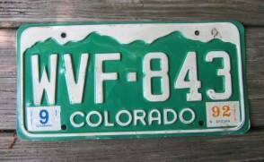 Colorado Mountain Scene License Plate 1992