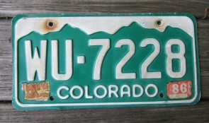 Colorado Mountain Scene License Plate 1986