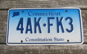 Connecticut Blue White License Plate 1990's