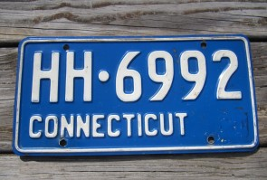 Connecticut Blue White License Plate 1970's