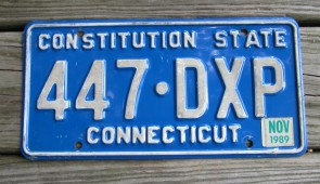Connecticut Motorcycle Blue License Plate 2002