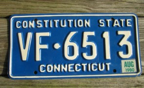 Connecticut Blue White License Plate 1980