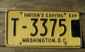 District of Columbia License Plate Washington DC Nation's Capital 1970's