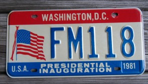 District of Columbia License Plate Washington DC Presidential Inauguration 1981