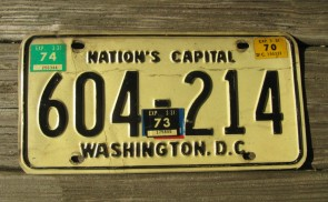 District of Columbia License Plate Washington DC Nation's Capital 1974