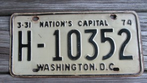 District of Columbia Taxi For Hire License Plate Washington DC Nation's Capital