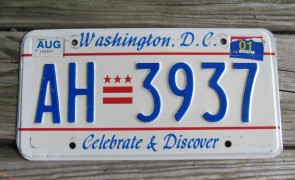Washington DC License Plate District of Columbia Taxation Without Representation
