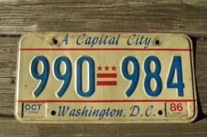 District of Columbia License Plate Washington DC A Capital City 1986