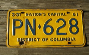 District of Columbia License Plate Washington DC Nation's Capital 1961