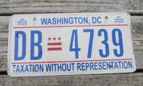 District of Columbia License Plate Washington DC Taxation Without Representation