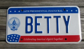 District of Columbia License Plate Washington DC 54th Presidential Inaugural BETTY