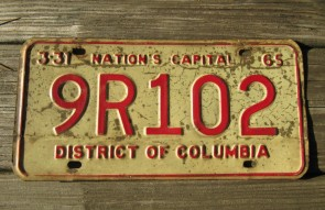 District of Columbia License Plate Washington DC Nation's Capital 1965