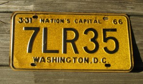 District of Columbia License Plate Washington DC Nation's Capital 1966