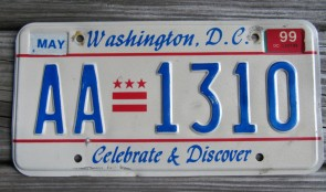 District of Columbia License Plate Washington DC Celebrate and Discover 1999