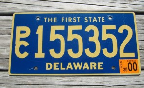 Delaware The First State License Plate 2000