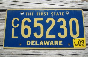 Delaware The First State License Plate 2003
