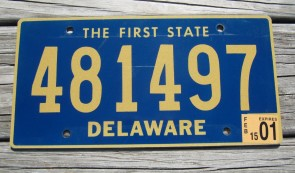 Delaware The First State License Plate 2001