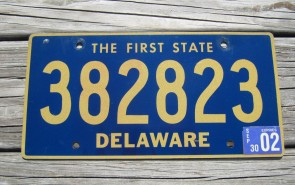 Delaware The First State License Plate 2002