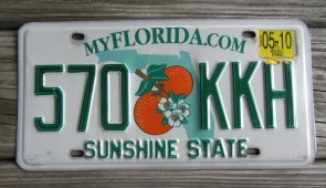 Florida Double Orange My Florida License Plate 2010 Sunshine State