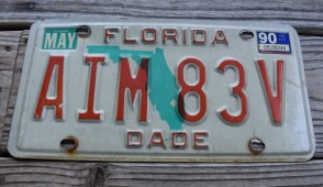 Florida Green Map License Plate 1990
