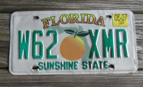 Florida Green Map License Plate 1992