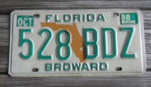 Florida Orange Map License Plate 1988
