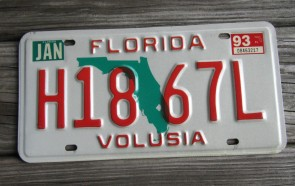 Florida Orange Map License Plate 1995 NGZ 39T