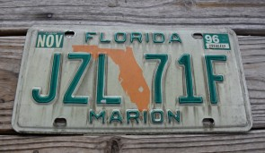 Florida Green Map License Plate 1996