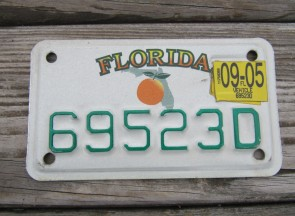 Florida Motorcycle License Plate Big Orange 2005