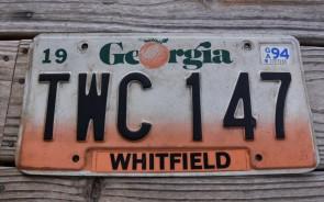 Georgia Peach License Plate 1994