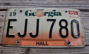 Georgia Peach License Plate 1995