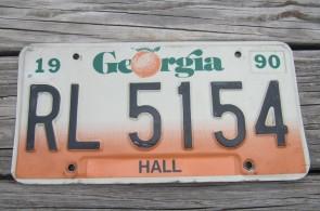 Georgia Peach License Plate 1990 Hall County