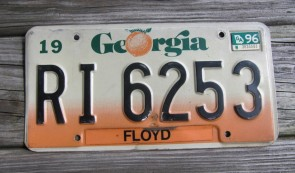 Georgia Peach State License Plate 1969