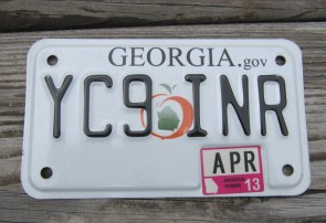 Georgia Motorcycle License Plate Peach State 2013
