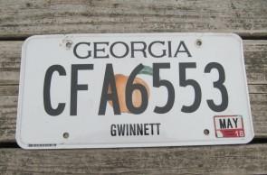 Georgia Peach License Plate 2014 Telfair County In God We Trust