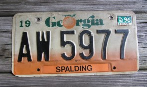 Georgia Green White License Plate 1989 Lowndes County