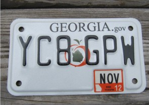 Georgia Motorcycle License Plate Peach State 2012