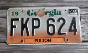 Georgia Peach License Plate 1990