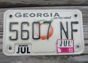 Georgia Motorcycle License Plate On My Mind Peach 2013