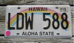 HawaII Rainbow Aloha State License Plate 2015