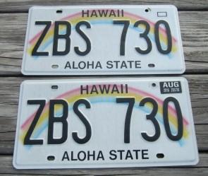 HawaII Rainbow Aloha State License Plate Pair 2016