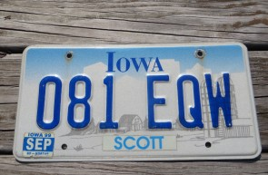 Iowa Farm Scene Embossed License Plate 1999 Scott County