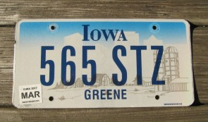 Iowa Farm Scene License Plate Greene County 2017