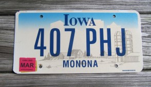 Iowa White Black License Plate 1975