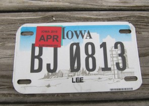 Iowa Motorcycle Farm Scene License Plate 2015