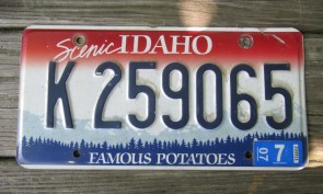 Idaho Scenic Famous Potatoes License Plate 2007