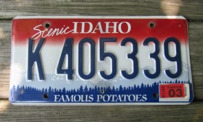 Idaho Scenic Famous Potatoes License Plate 2012