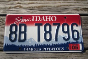 Idaho Scenic Famous Potatoes Embossed License Plate 2009